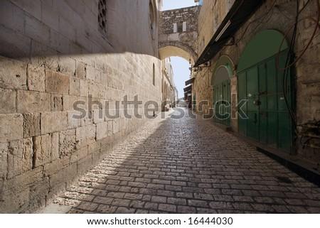Via dolorosa - the last jesus way in jerusalem. - stock photo