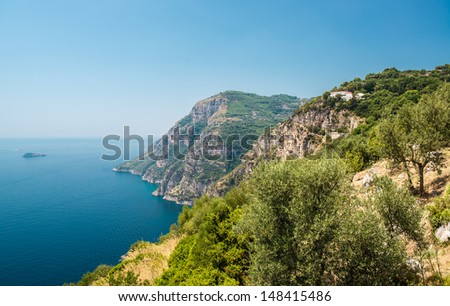 Via Nastro Azzurro, Amalfi Coast. Stunning landscape with hills and Mediterranean sea, Italy