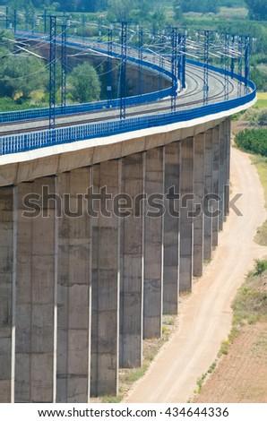 viaduct in Calatayud, Saragossa, Aragon, Spain, AVE Madrid Barcelona. - stock photo