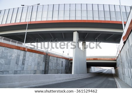 Viaduct over new road , Poland - stock photo