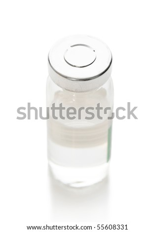Vial with a medicine on a white background - stock photo