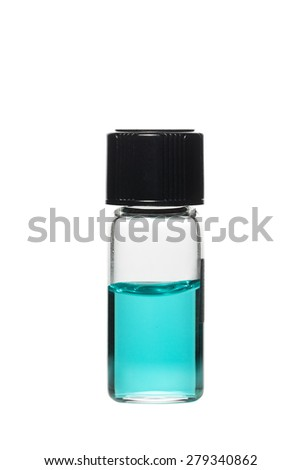 Vial with colored solution, isolated on white background - stock photo