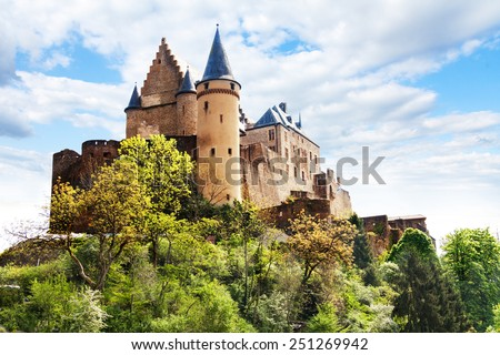Vianden castle fortifications, Luxembourg  - stock photo