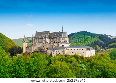 Vianden Luxembourg mountains and forests - stock photo