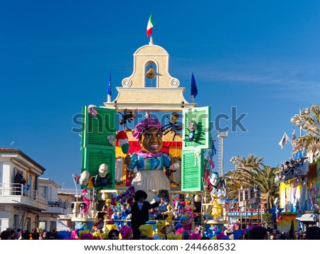 VIAREGGIO, ITALY - FEBRUARY 2:   allegorical float at Viareggio Carnival held February 2, 2013 - stock photo
