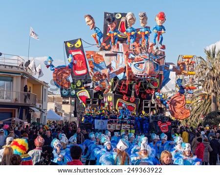 VIAREGGIO, ITALY - FEBRUARY 2:   allegorical float at Viareggio Carnival held February 2, 2015 - stock photo