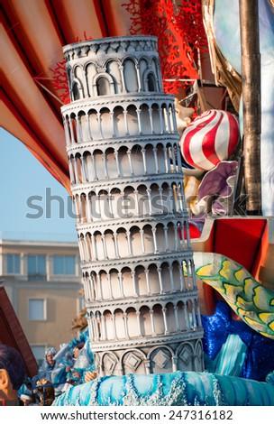 VIAREGGIO, ITALY - FEBRUARY 22, 2014: Float about carnival mask at Viareggio Carnival. The symbol of the carnival of Viareggio and its official mask is Burlamacco - stock photo