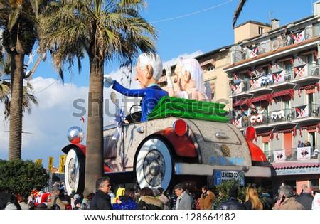 VIAREGGIO, ITALY - 10 FEBRUARY 2013 : the parade of carnival floats on streets of Viareggio, February 10, 2013 in Viareggio,Italy - stock photo