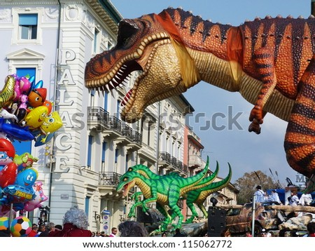 VIAREGGIO, ITALY - MARCH 4:Detail of carnival float at the parades on the promenade during the famous annual Italian Carnival of Viareggio on march 4, 2012 in Viareggio, Italy