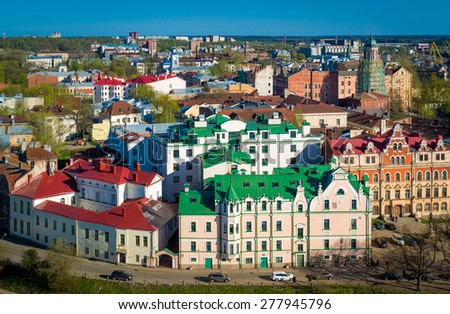 Viborg old city view from the Saint Olav sweden castle tower - stock photo