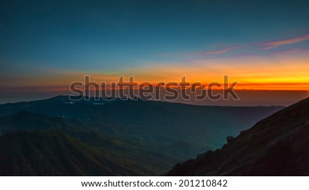 Vibrance sunrise at Cemoro Tunggal, Semeru Volcano Mountain, East Java, Indonesia. Semeru Mountain also known as Mahameru Mountain in Indonesia means the great mountain.  - stock photo