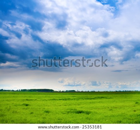 Vibrant background of cloudy sky and fresh green grass