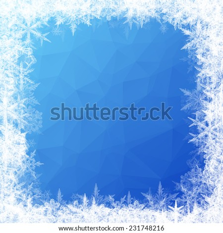 Vibrant blue triangle gradient texture with snow flakes christmas background