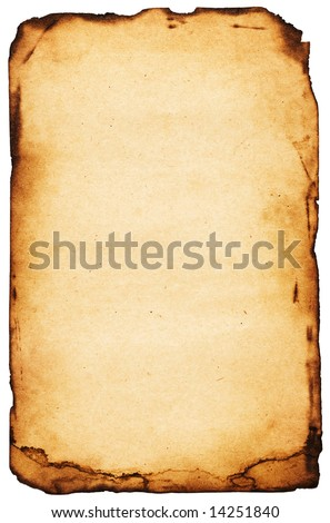 Vibrant burn paper with torn borders. Page on white - stock photo