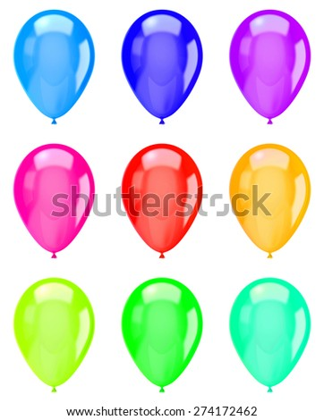 Vibrant Color Isolated Balloons Collection on White Background Illustration - stock photo