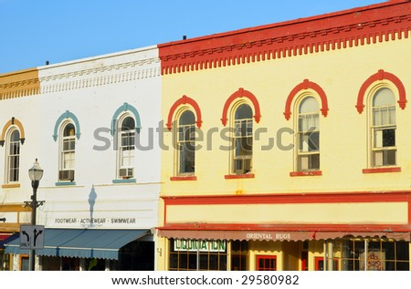 Vibrant colors and picturesque window arches in downtown Chagrin Falls, Ohio - stock photo