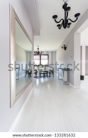 Vibrant cottage - Bright corridor and dining room - stock photo
