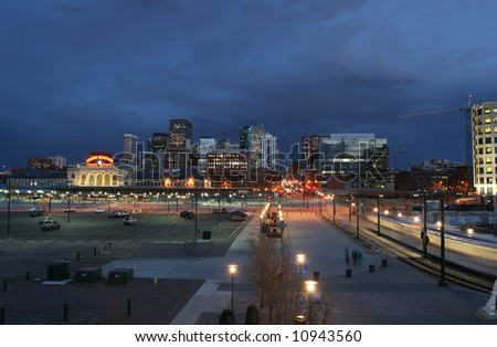 Vibrant Denver LoDo District in Twilight - stock photo