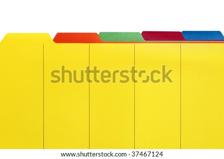Vibrant file divider tabs, ready for your own labels.  White Background.