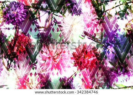 Vibrant floral pattern with colorful floral design on a rhombus geometric background. Photo collage of flowers Asters on a chevron zig zag backdrop. Artwork with effect layering for floral design. - stock photo
