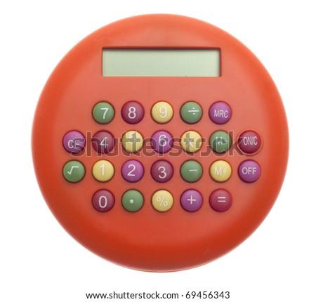 Vibrant Orange Calculators Background on White Money Concept. - stock photo