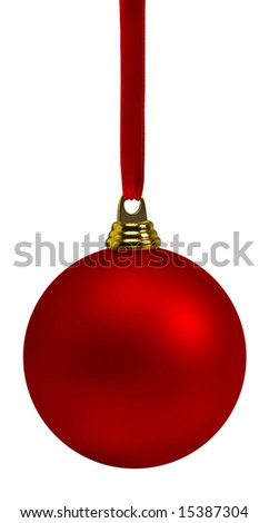 Vibrant red Christmas bauble, hanging on red satin ribbon.