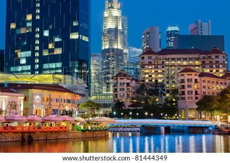 Vibrant Singapore Nightlife - stock photo
