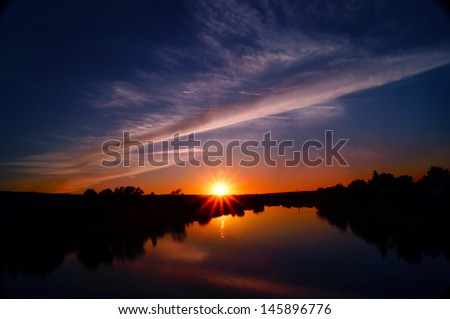 Vibrant Sunset Sky, Quebec city, Canada - stock photo