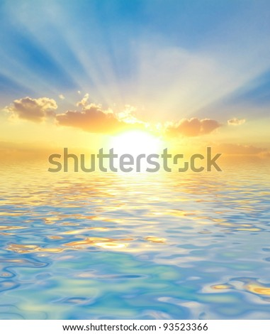 Vibrant Waters Bright Heavens - stock photo