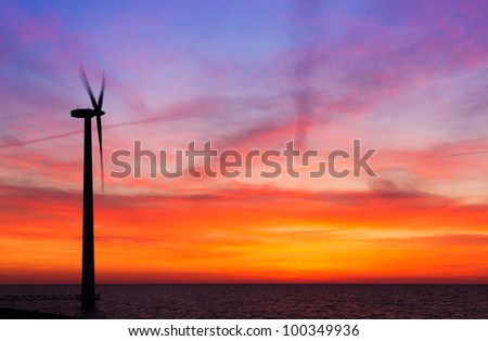 Vibrant windmill sunset