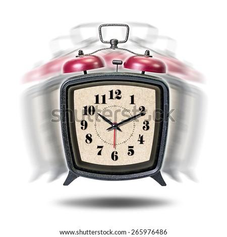 Vibrate vintage alarm clock isolated on white background - stock photo