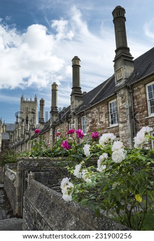 Vicars Close and Wells cathedral - stock photo