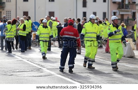 Vicenza, Italy. 10th October, 2015.  Civil Protection during International Exercise and action of Contrast to Hydraulic Emergency in Local Urban Site