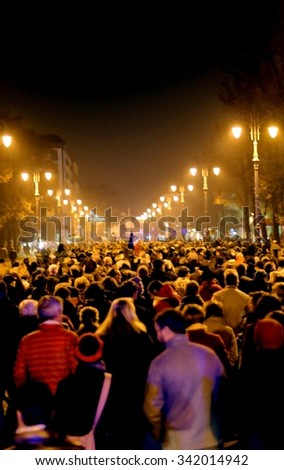 Vicenza, VI, Italy. 15th november, 2015, many people marching in memory of the victims of terrorist attacks in Paris on November 14