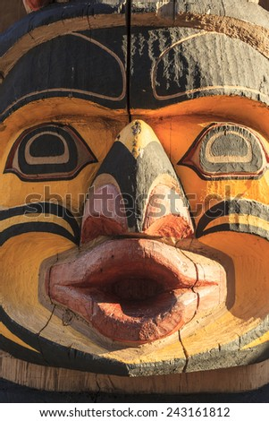 VICTORIA  B.C.  CANADA - NOV 8 2014: The Royal B.C. museum has an abundance of history and objects from the native first nations people. Including many totems around town and in the museum.  - stock photo