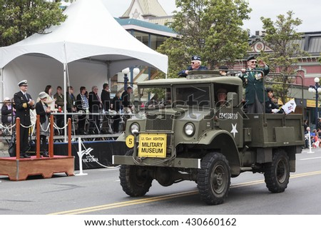 VICTORIA,BC,CANADA-MAY 23,2016: Canadian forces on  the Victoria Day parade along Douglas Street.  This is Victoria's largest parade, attracting well over 100,000 people along the rout.