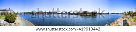 VICTORIA, BC, CANADA - MAY 7 2016:   Panoramic view of the Inner Harbor Downtown City Skyline .