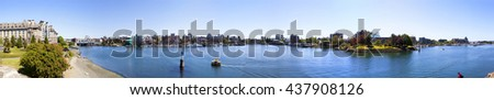 VICTORIA, BC, CANADA - MAY 7 2016: Panoramic view of the Inner Harbor Downtown City Skyline . - stock photo