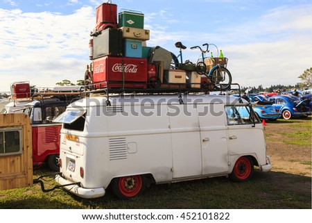 "VICTORIA CANADA - JULY 10 2016: Volksfest ""old-timers show"" a range of Volkswagen retro vintage car, Split Bus on exhibition. Some were mint condition some just showed up - but the culture lives on ! - stock photo"