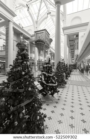 VICTORIA CANADA 25 NOV 2016:Inside view at Christmas of The Bay Center Arcade, shopping gallery, downtown Victoria.  Popular shopping destination for locals as well as for visitors.