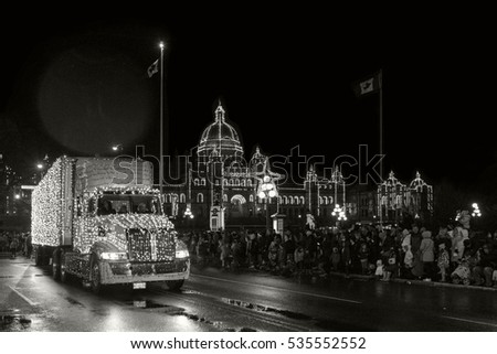 VICTORIA CANADA NOV 27 2016:Victoria Island Farm Santa Lights Parade. City of Victoria leads the way for Santa Clause and many supporters to have a great Christmas for the kids and families.