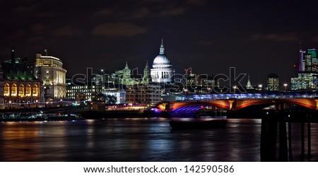 Victoria Embankment at night, London, England - stock photo