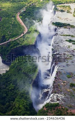 Victoria Falls Aerial Shot - stock photo