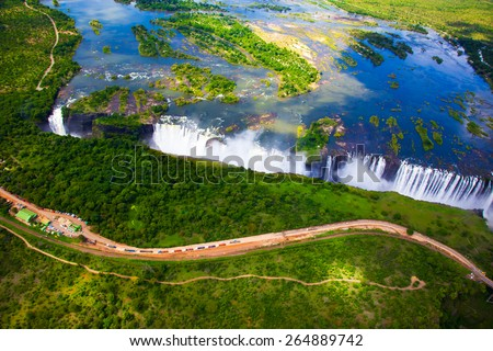 Victoria Falls aerial side view.  Taken while on a helicopter tour (The Flight of Angels). - stock photo