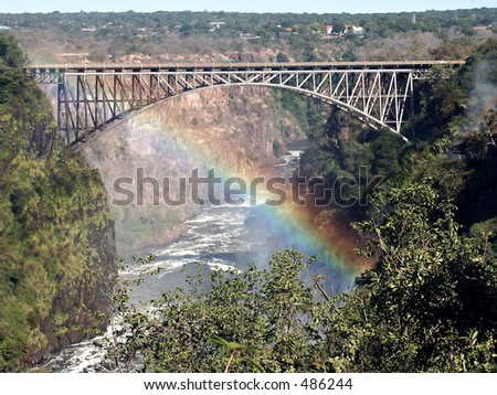 Victoria Falls bridge between Zambia and Zimbabwe - stock photo