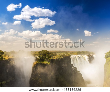 Victoria Falls in Africa, one of the seven wonders of the world - stock photo