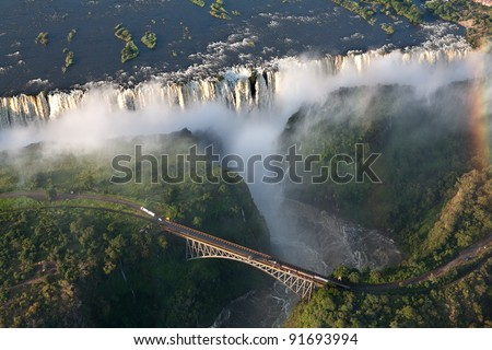 victoria falls on helicopter - stock photo