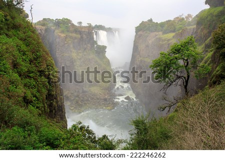 Victoria falls - The biggest waterfall in Africa, bordering Zambia and Zimbabwe - stock photo