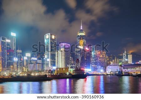 Victoria Harbor of Hong Kong City at night - stock photo