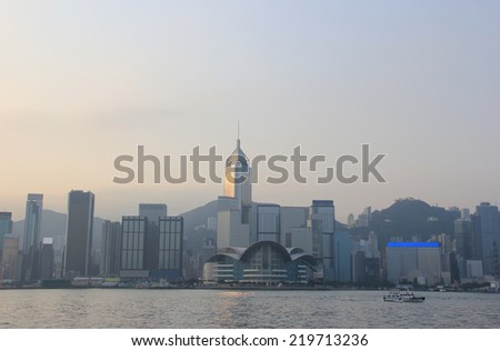 Victoria Harbour, a nature landform harbour situated between Hong Kong Island and Kowloon in Hong Kong - stock photo
